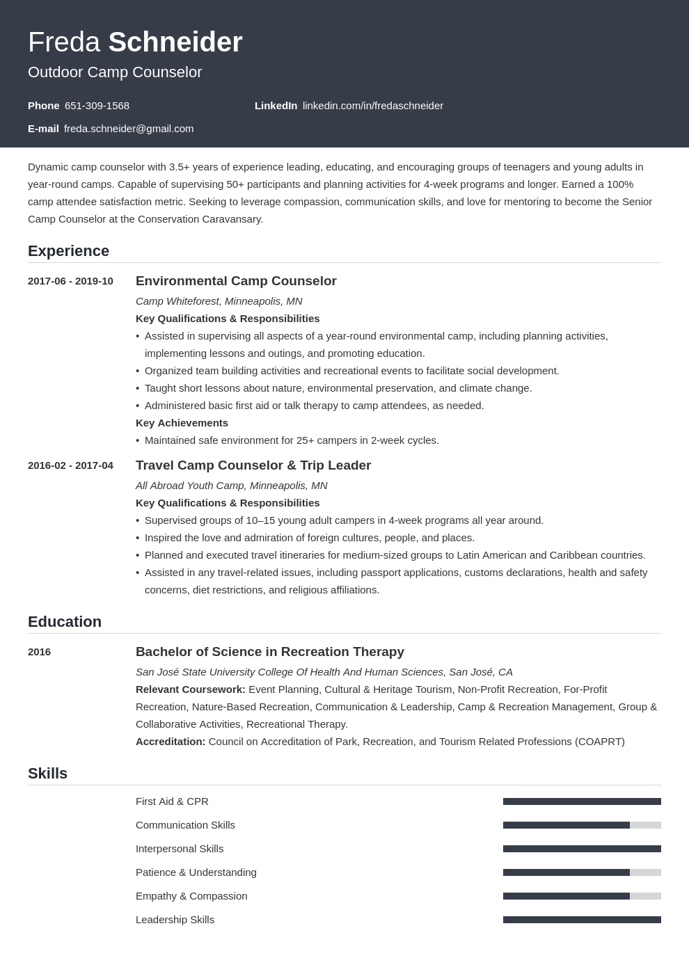 camp counselor template influx
