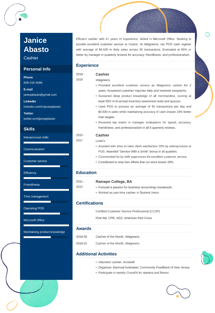 cashier resume example