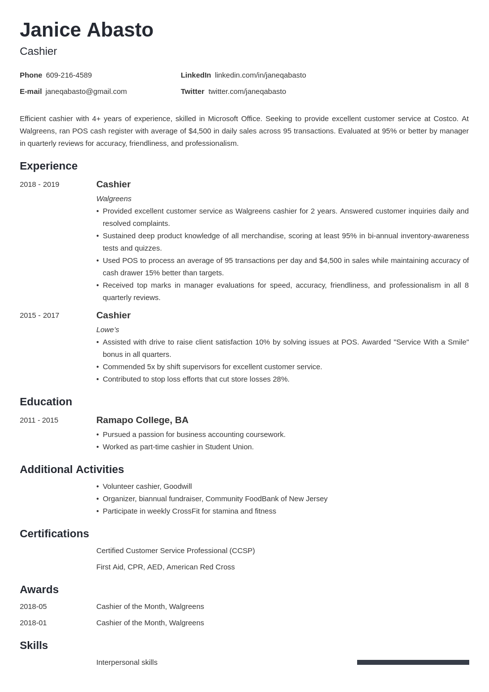 cashier resume u2014examples and 25  writing tips
