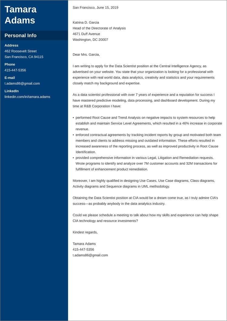 CIA cover letter