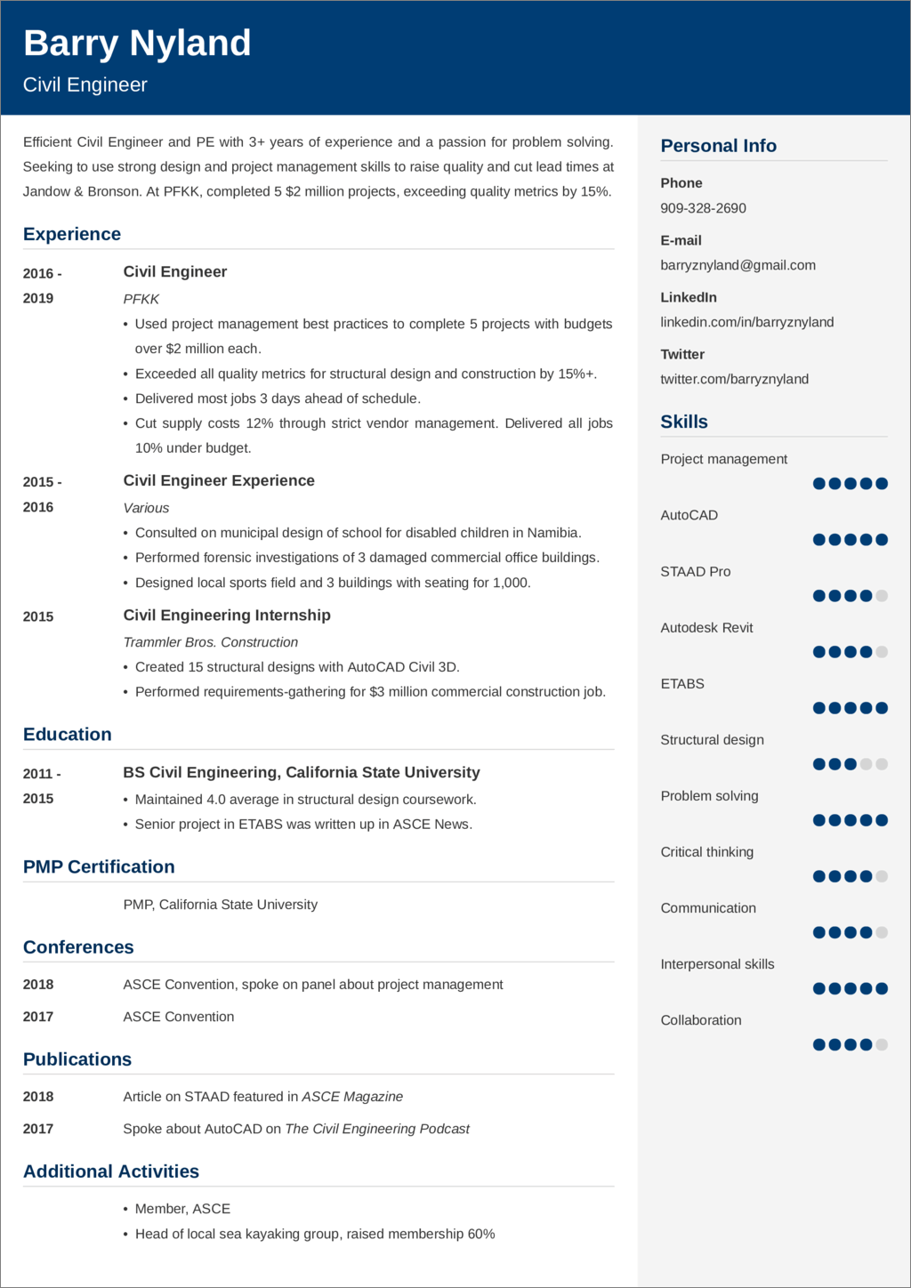 civil engineer resume sample—20 examples and writing tips