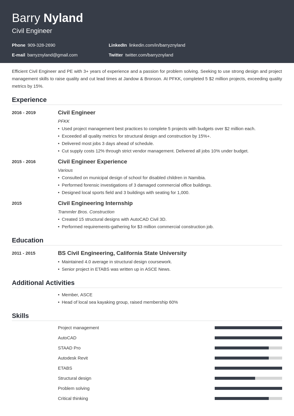 civil engineer template influx uk