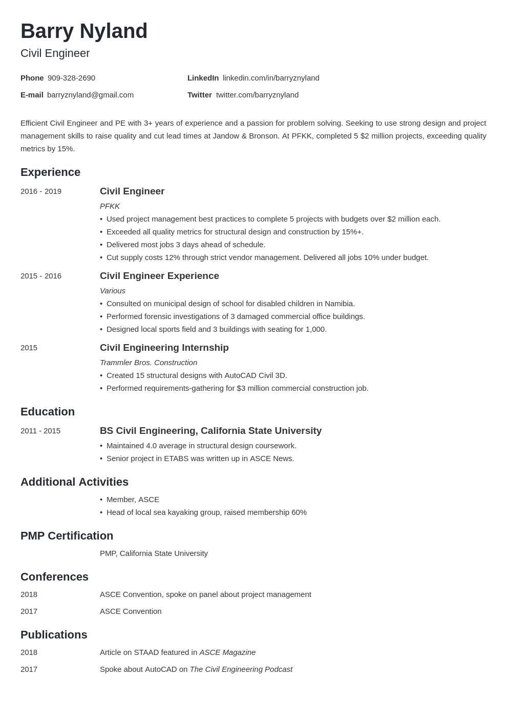 civil engineer template minimo uk