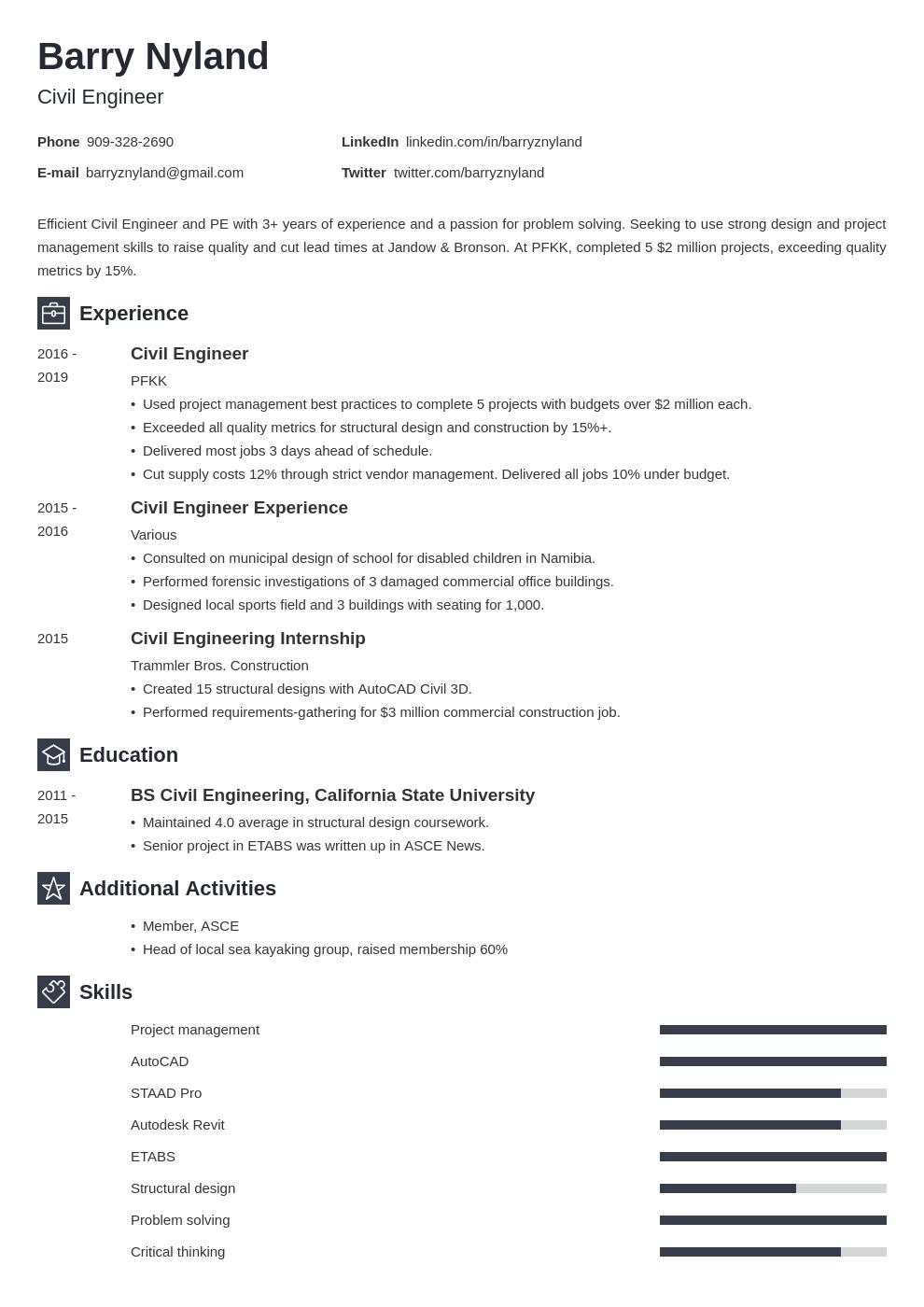 civil engineer template newcast uk