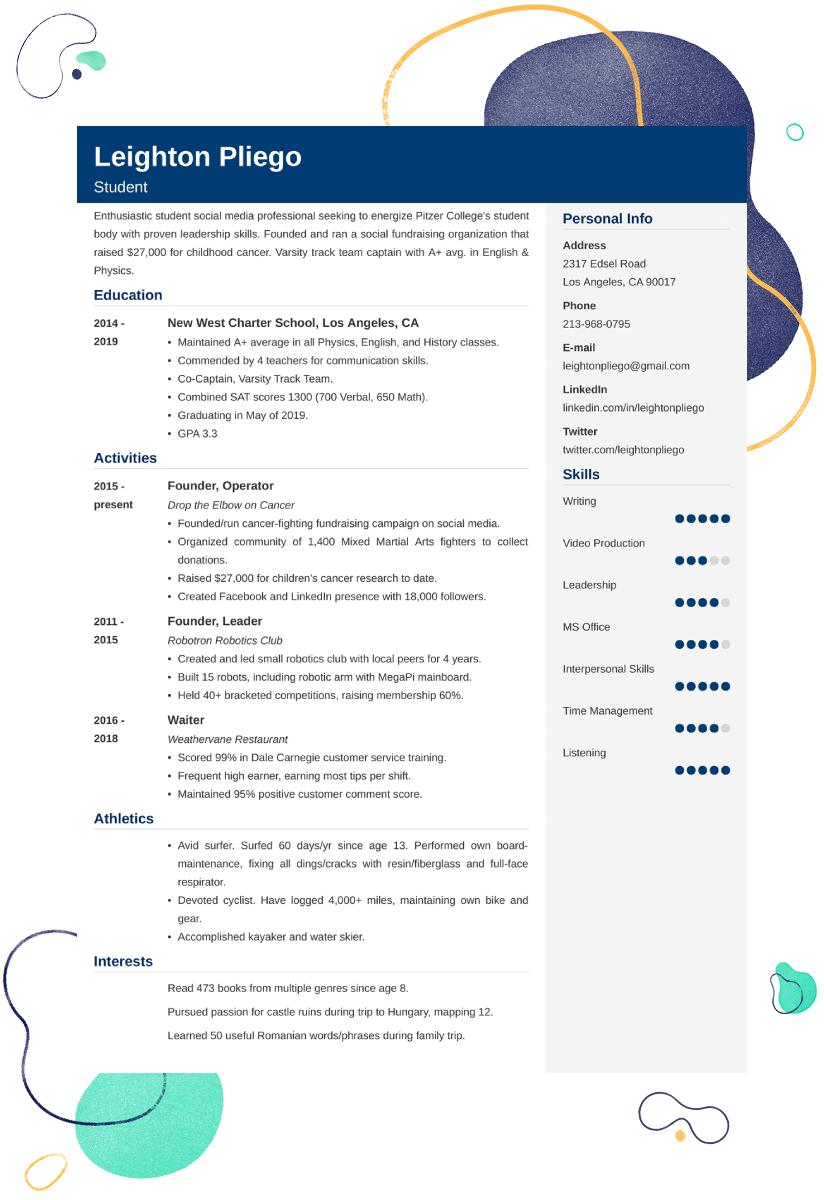 College admission resume outline
