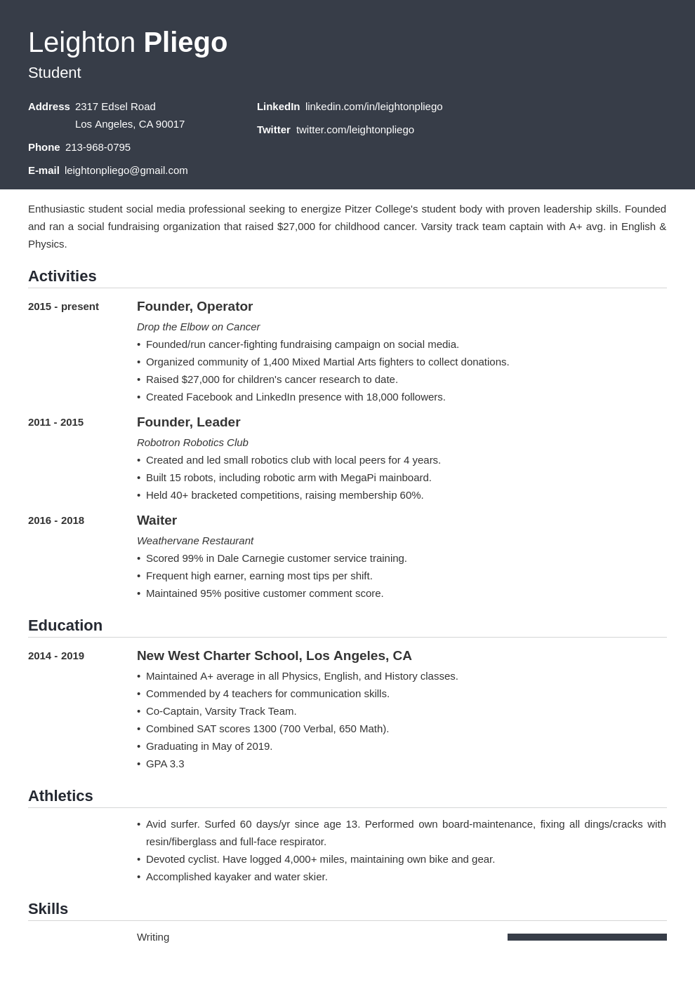 college application template influx