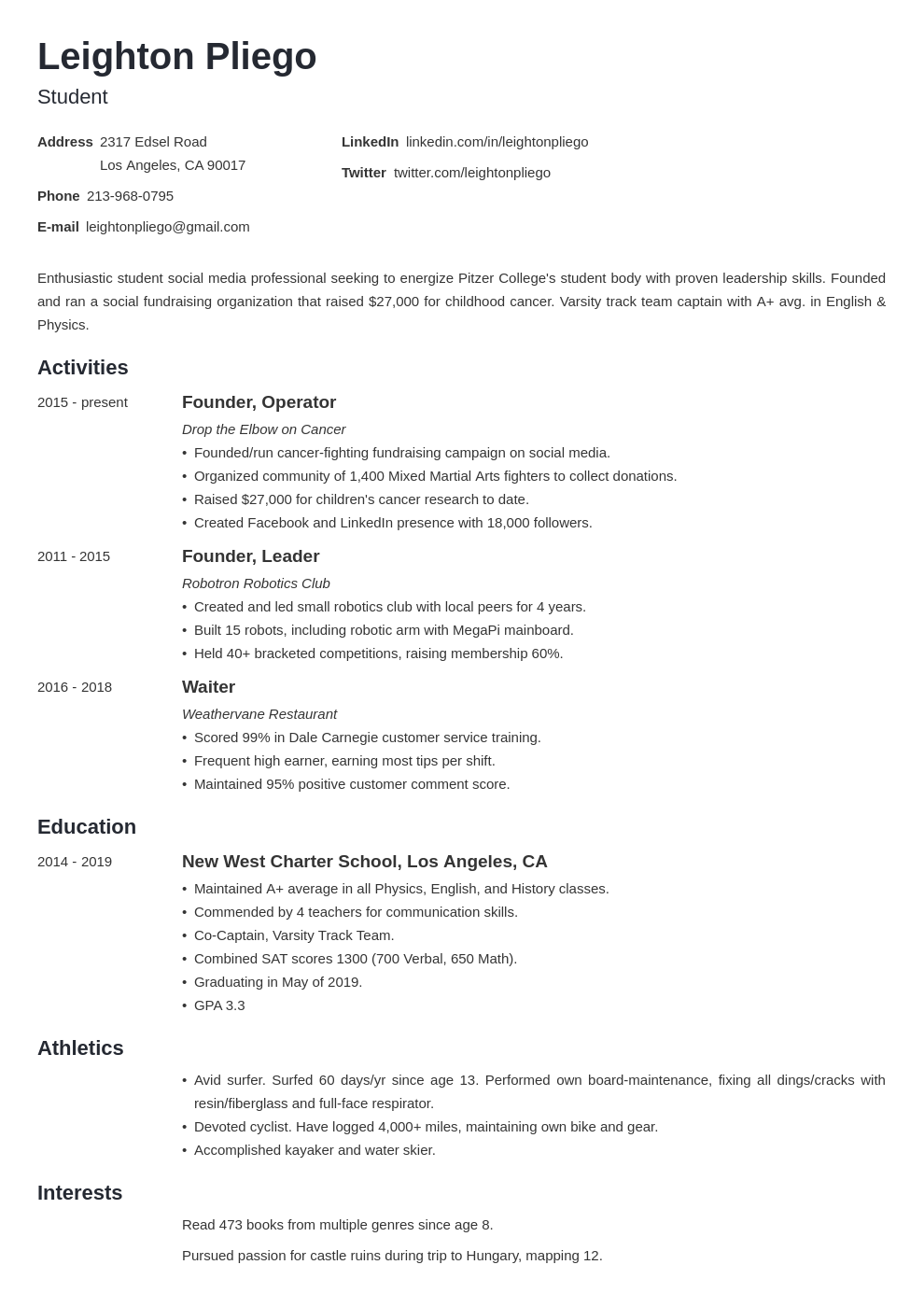college application template minimo