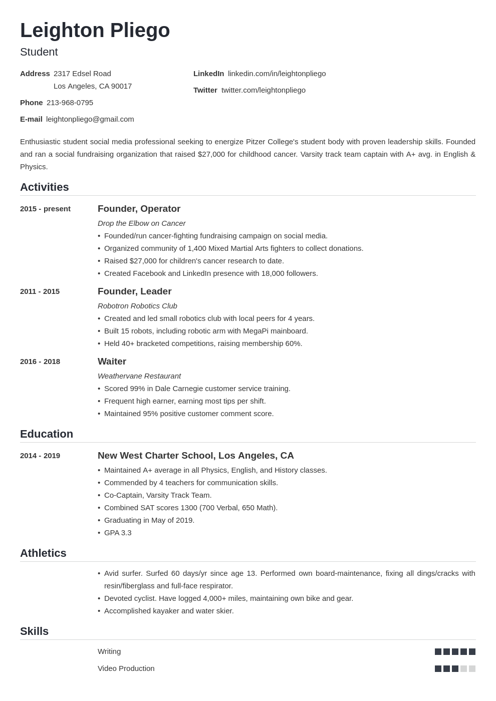 high school resume for college application template