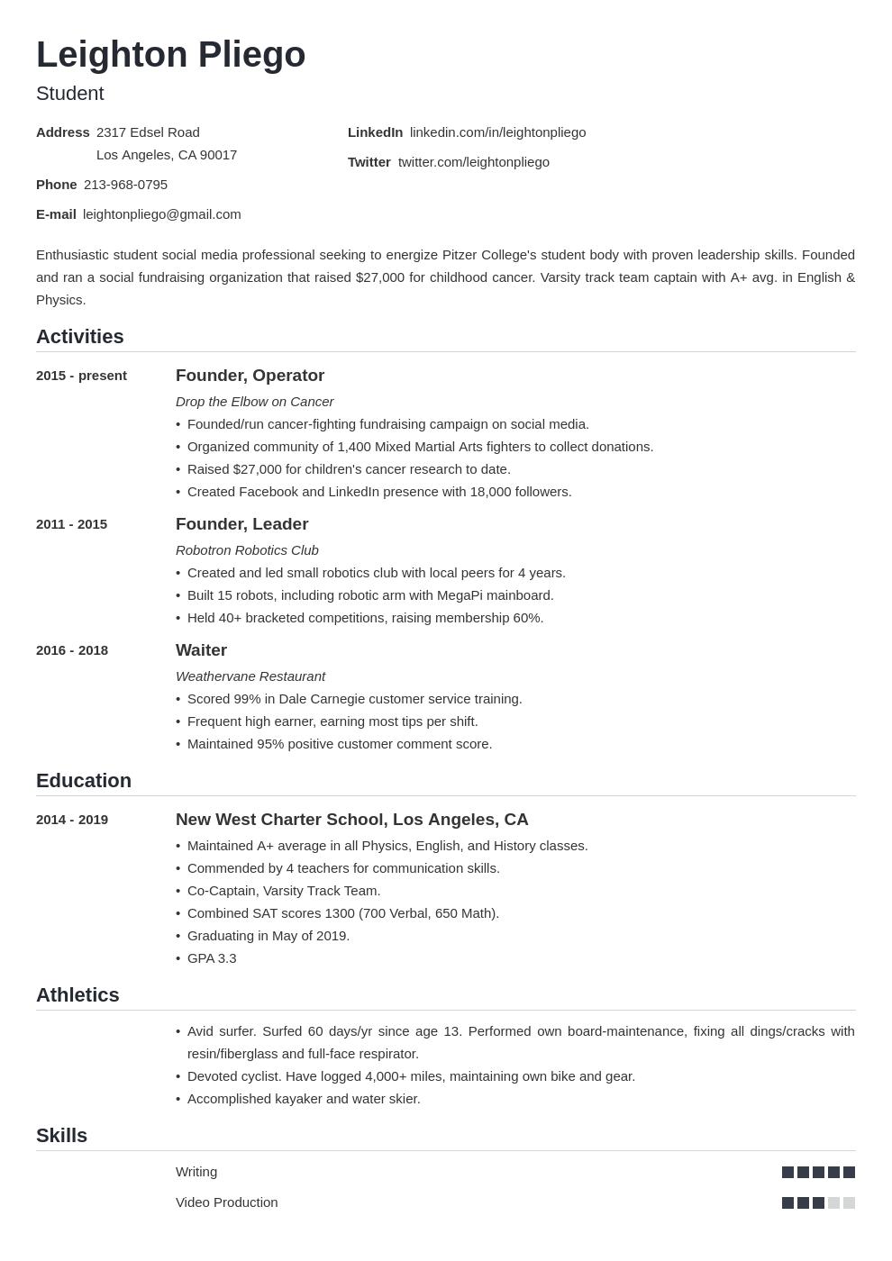 college application template nanica