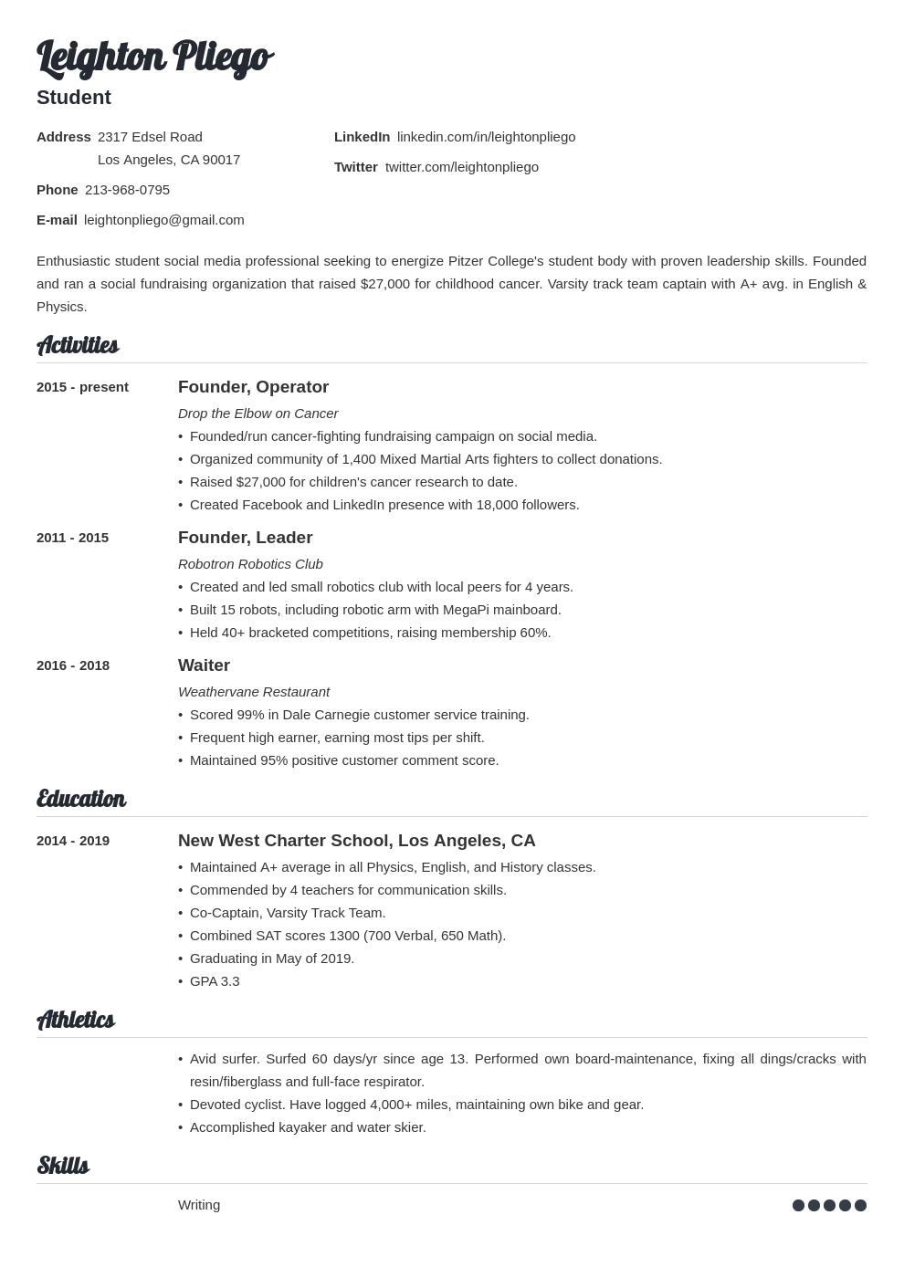 college application template valera