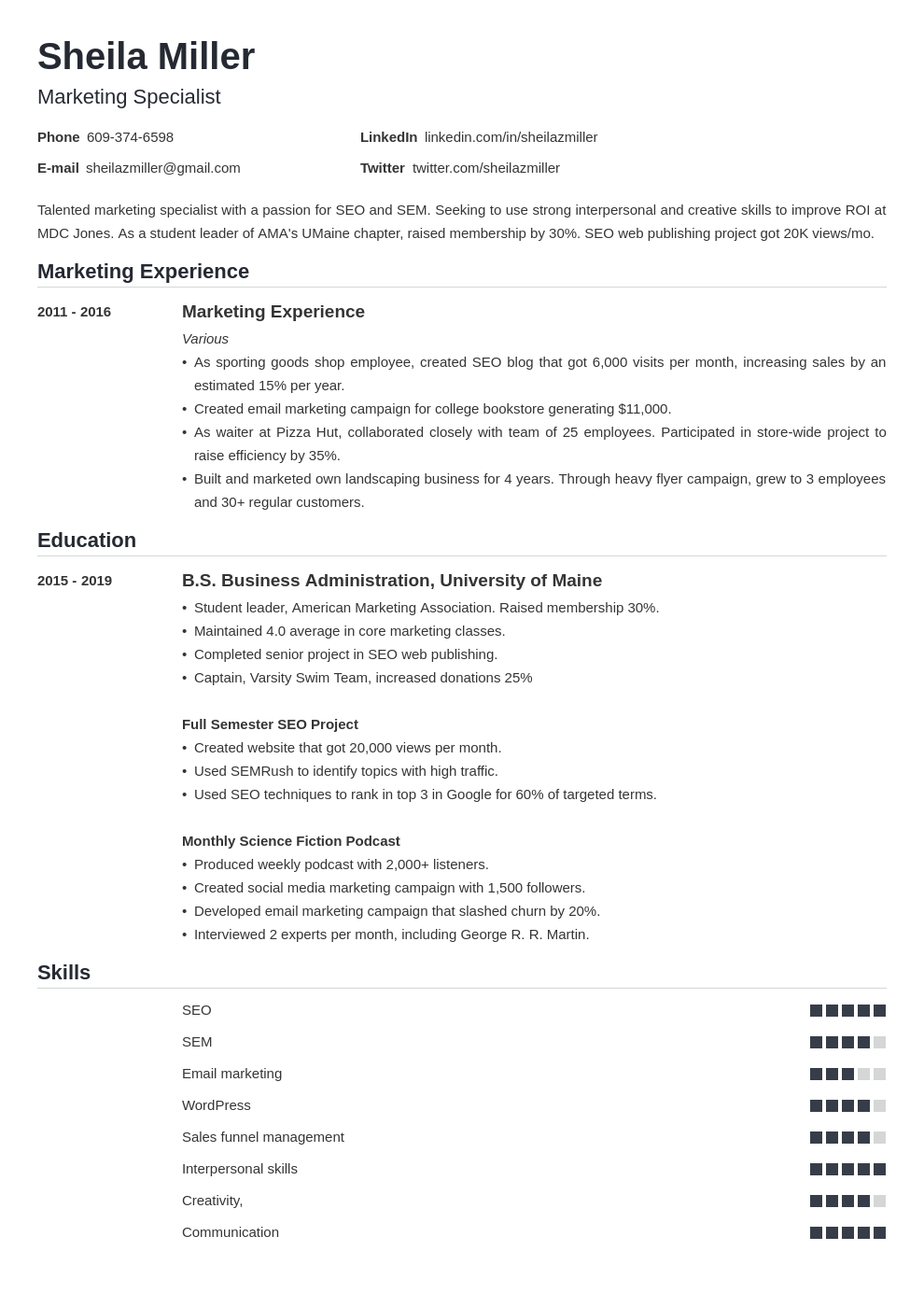 college student resume example—20 writing tips  samples