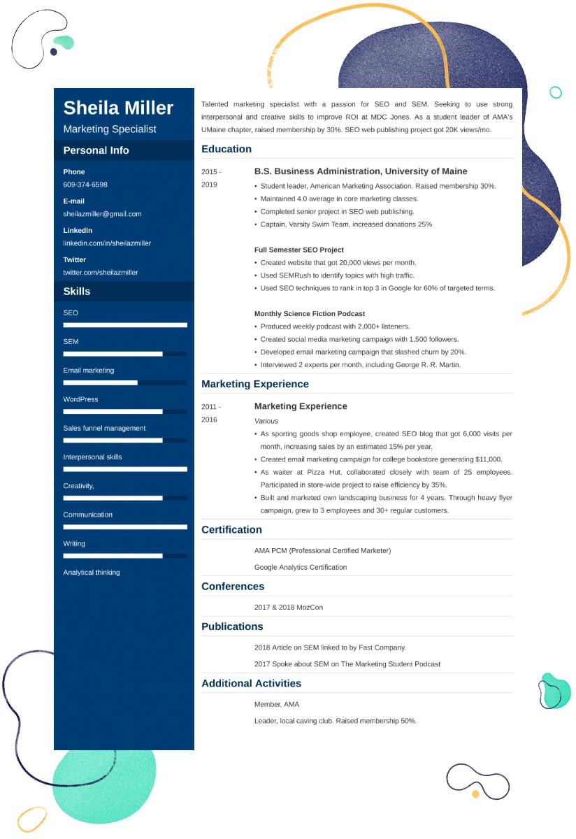 university student CV example