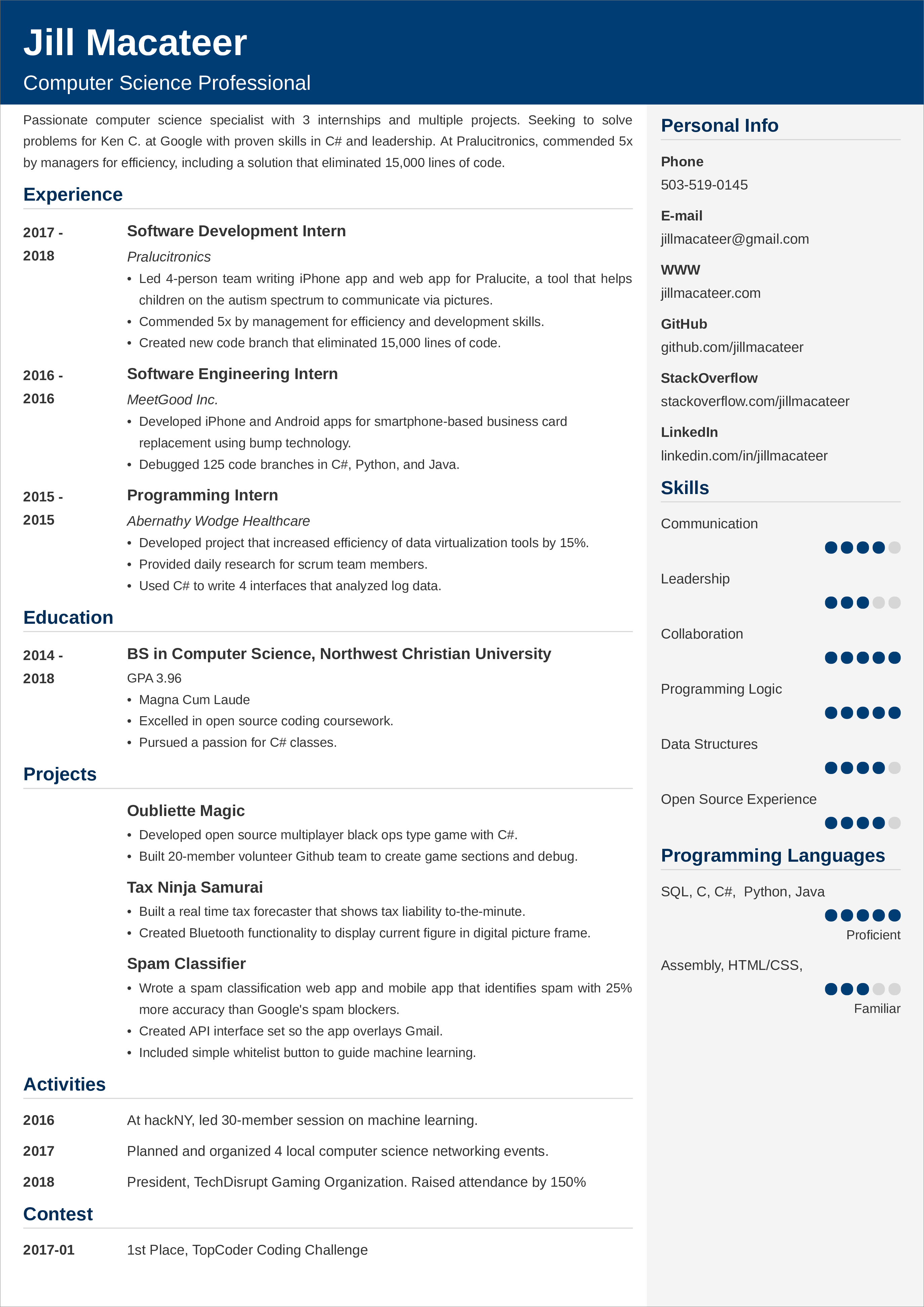 computer science resume sample u2014examples and 25  writing tips