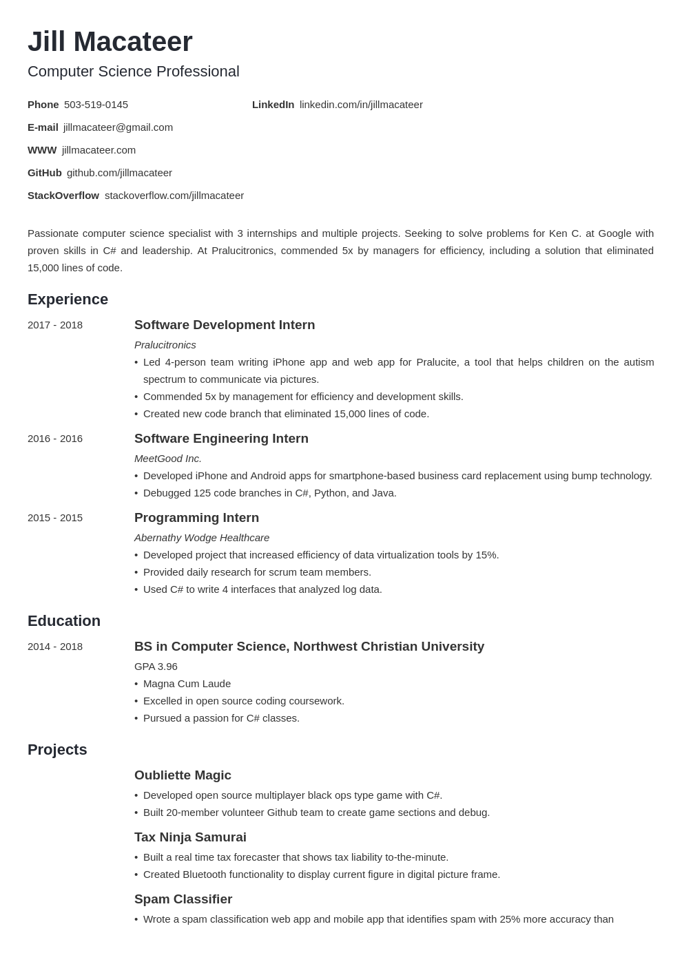Computer Science Student Resume from cdn-images.resumelab.com