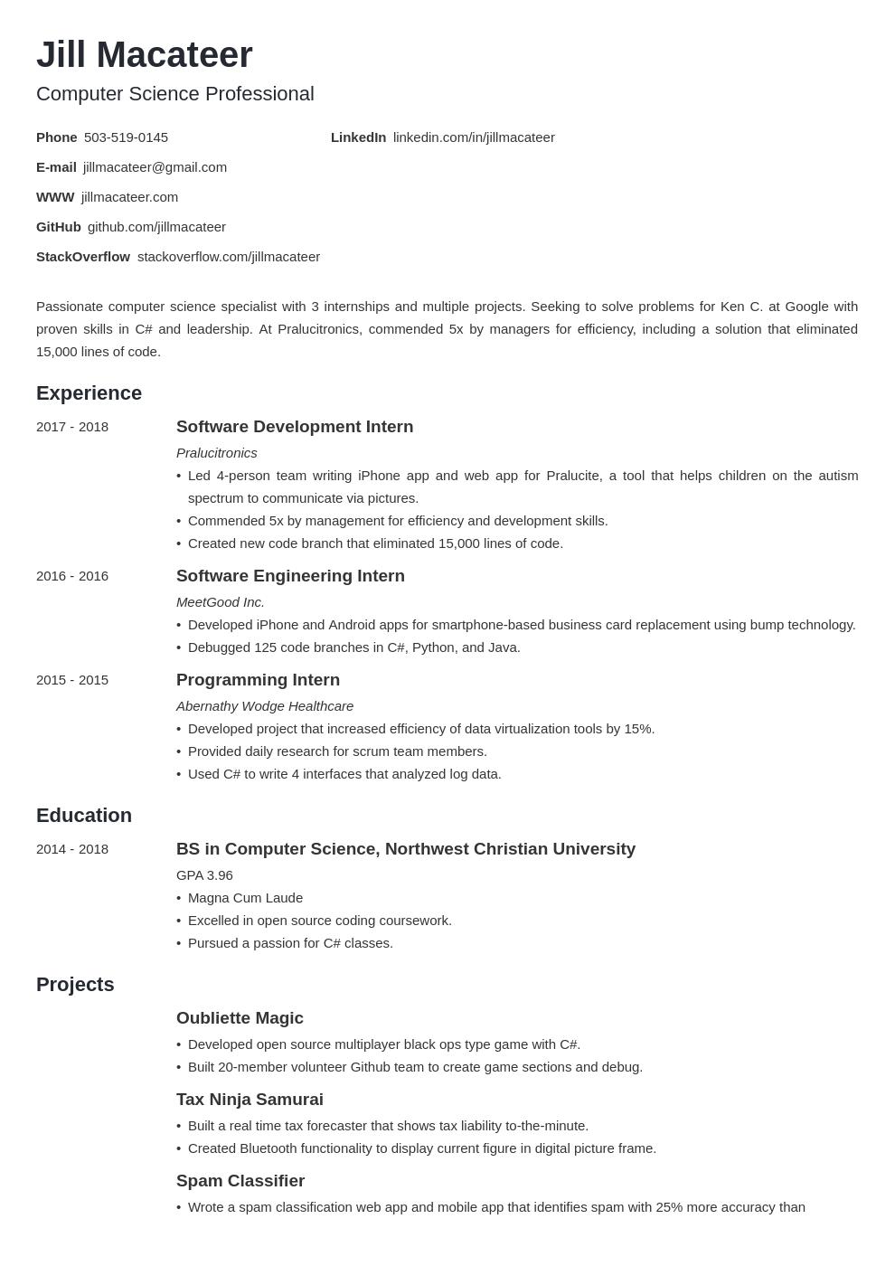computer science template minimo uk