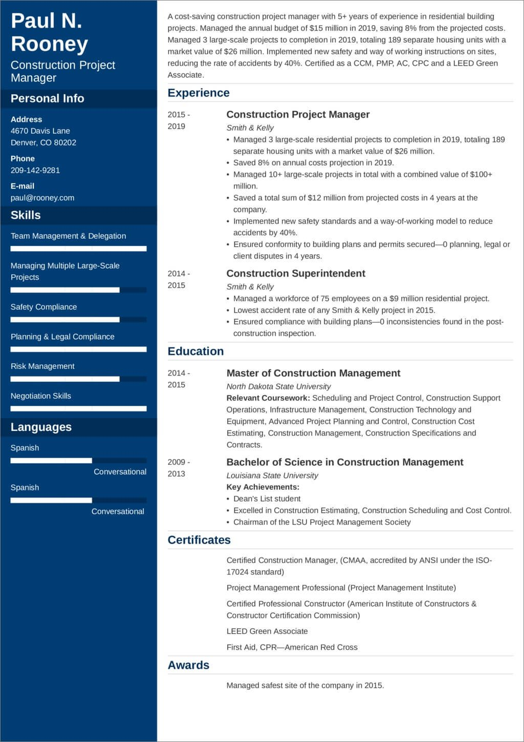 Construction Project Manager Resume Sample And 25 Tips