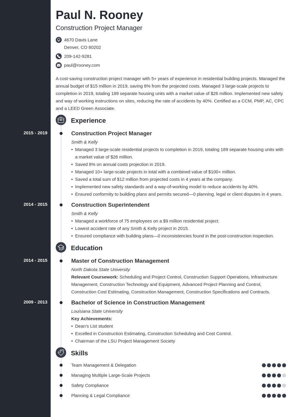 construction project manager template concept uk