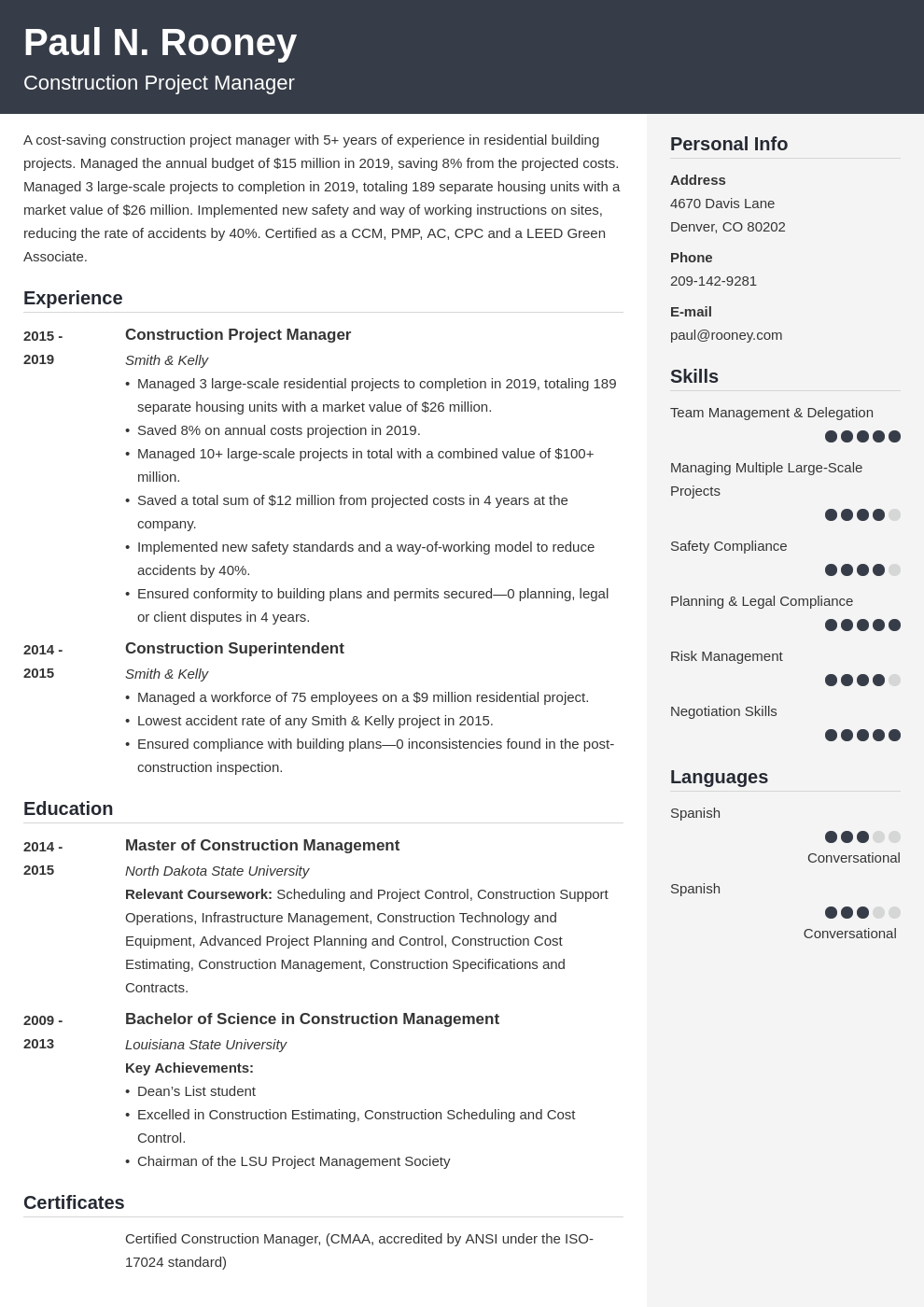 construction project manager template cubic uk
