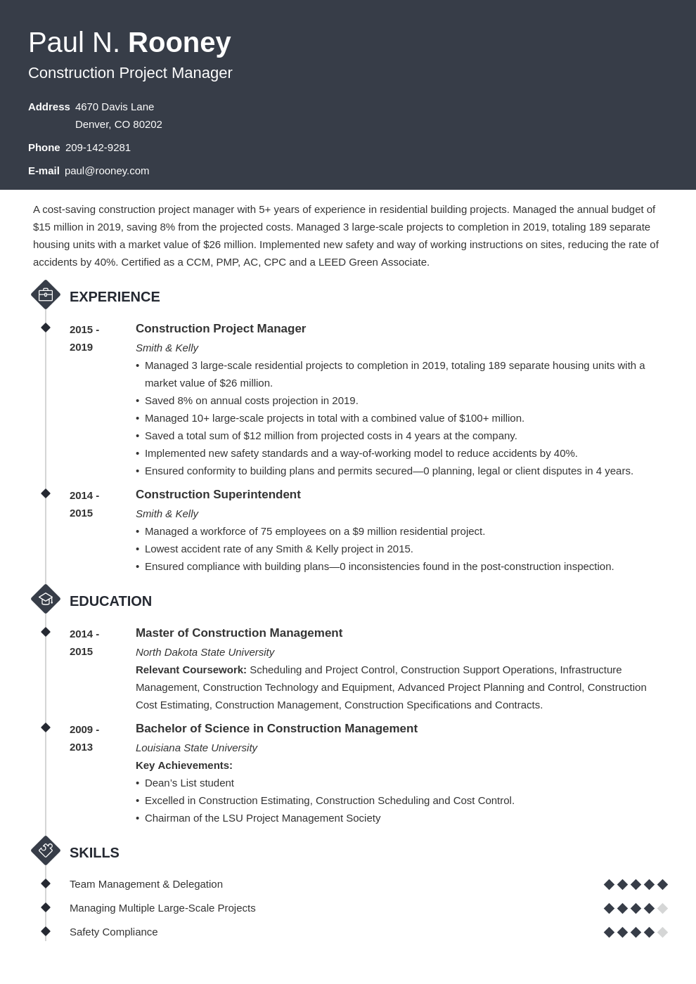construction project manager template diamond uk
