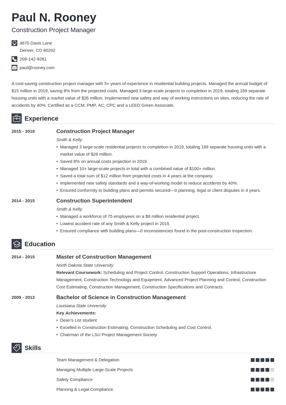 construction project manager template iconic uk