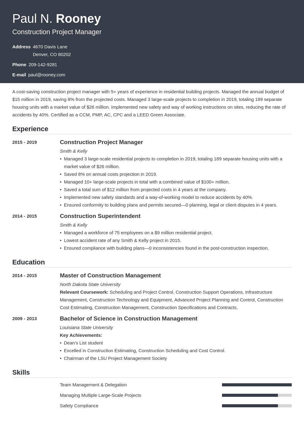 construction project manager template influx uk