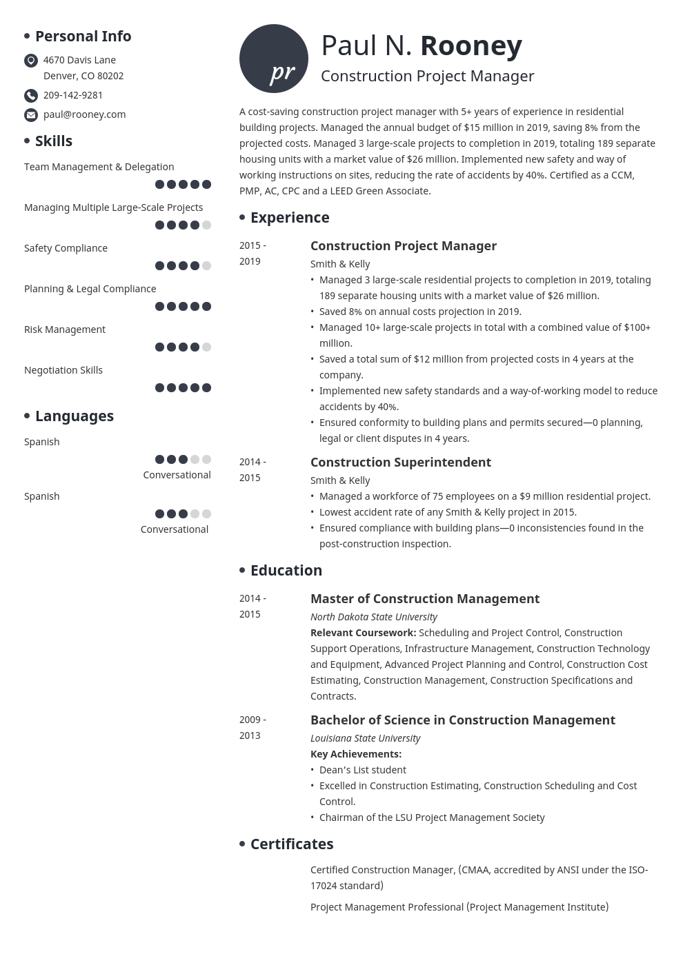 construction project manager template initials uk