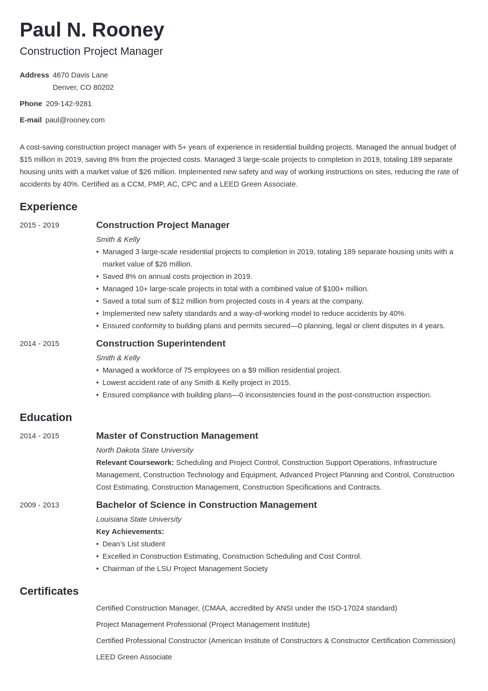 construction project manager template minimo uk