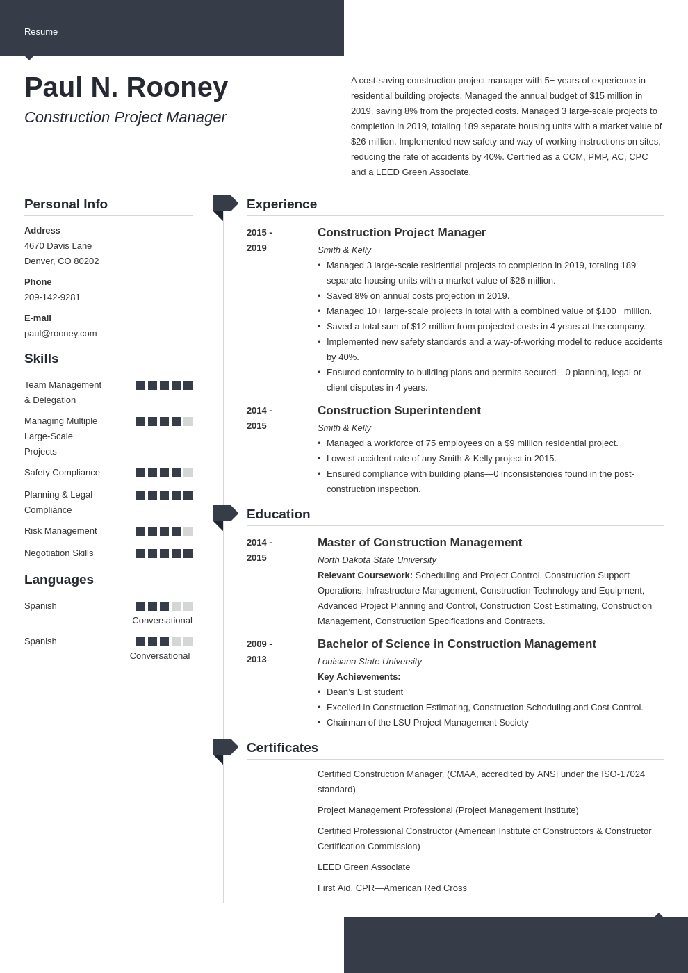 construction project manager template modern uk
