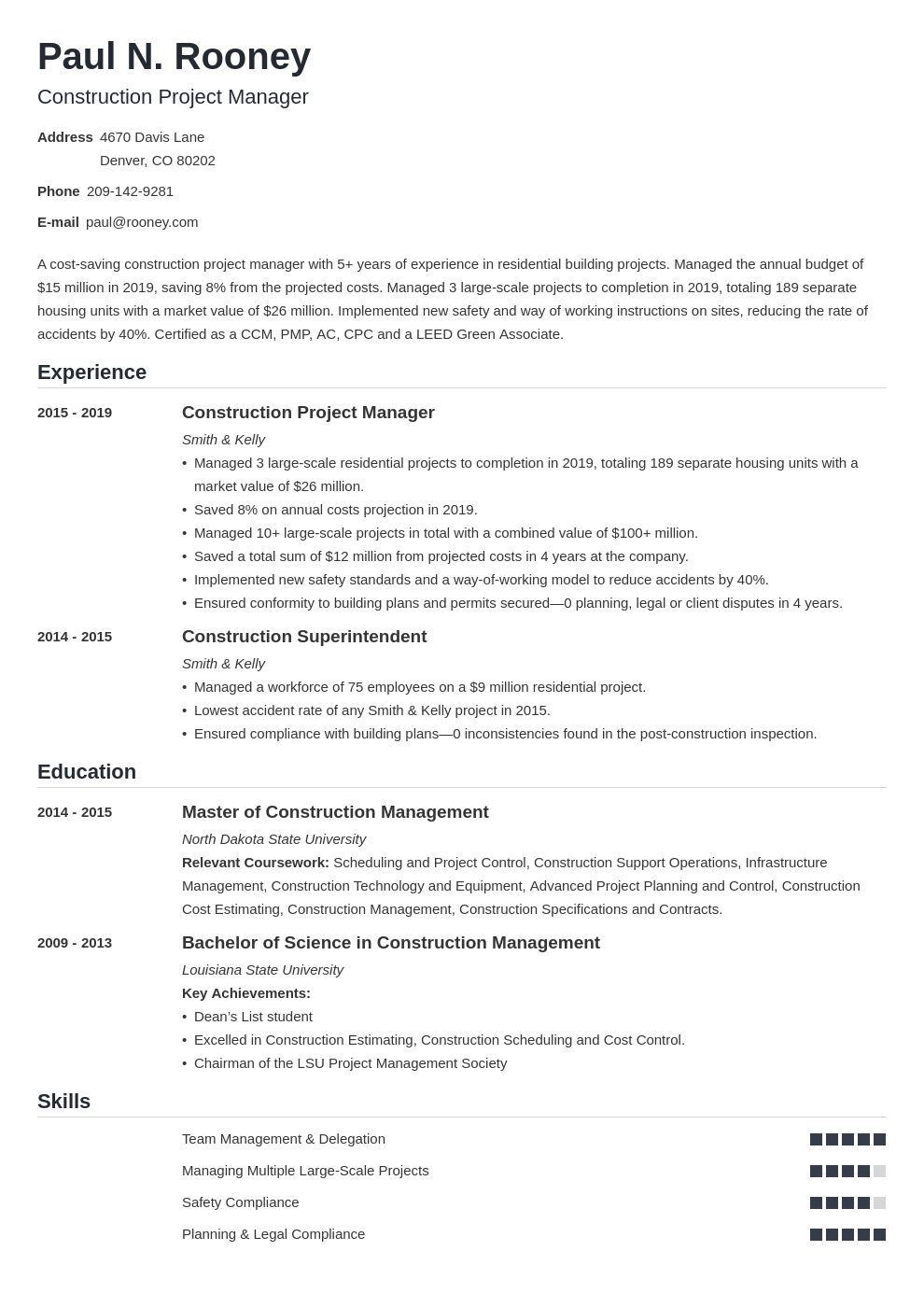 construction project manager template nanica uk
