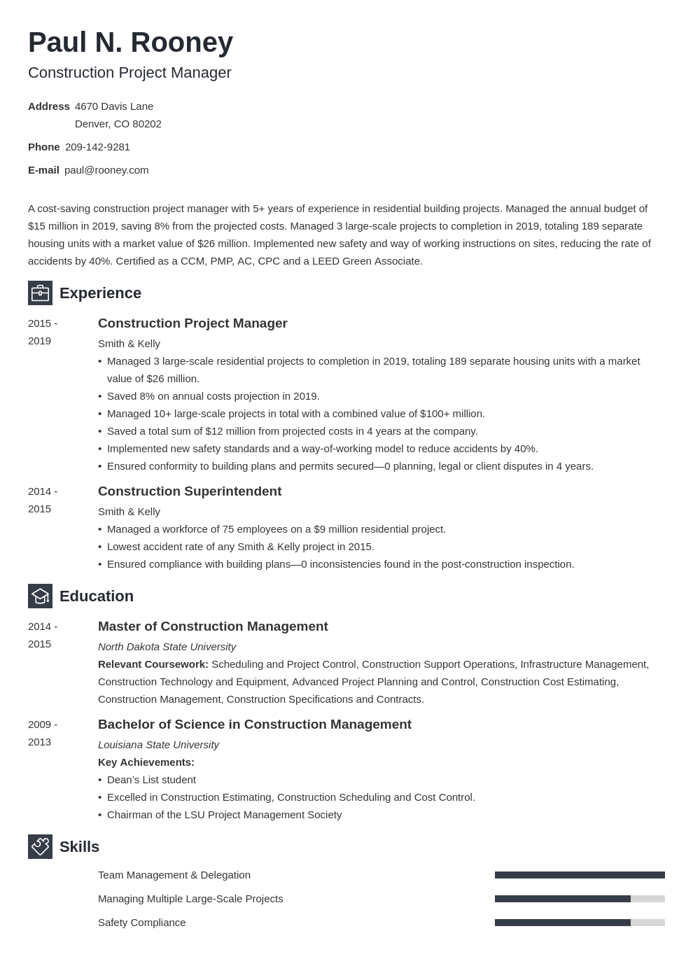 construction project manager template newcast uk