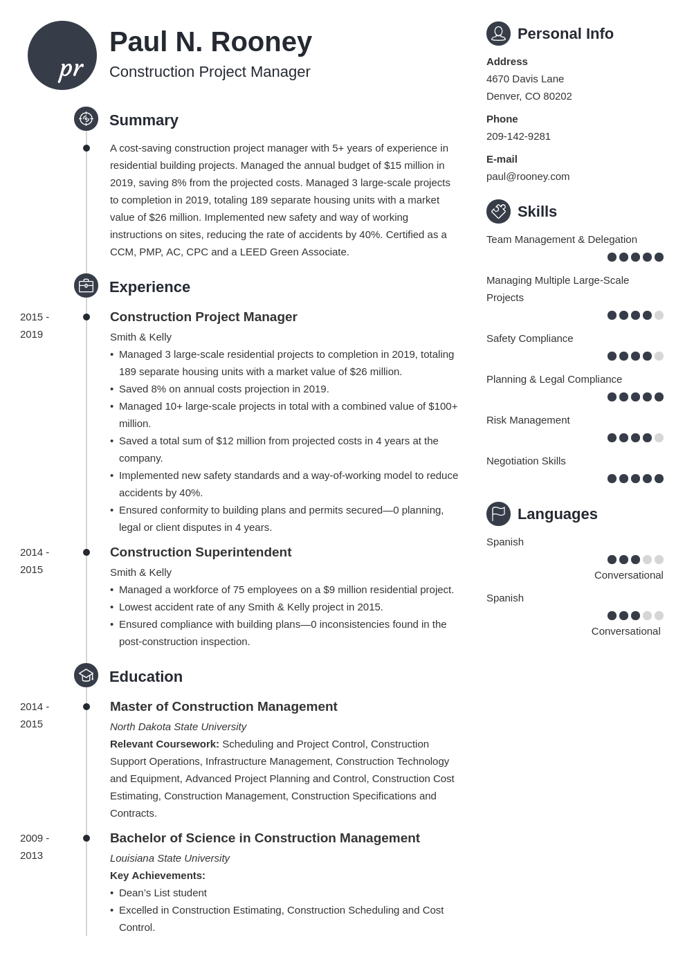 construction project manager template primo uk