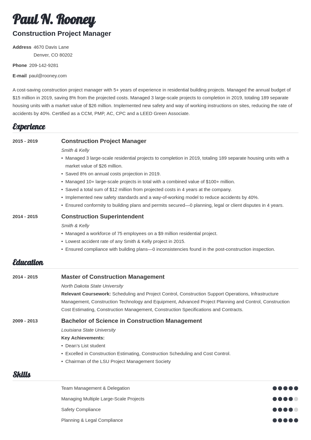 construction project manager template valera uk