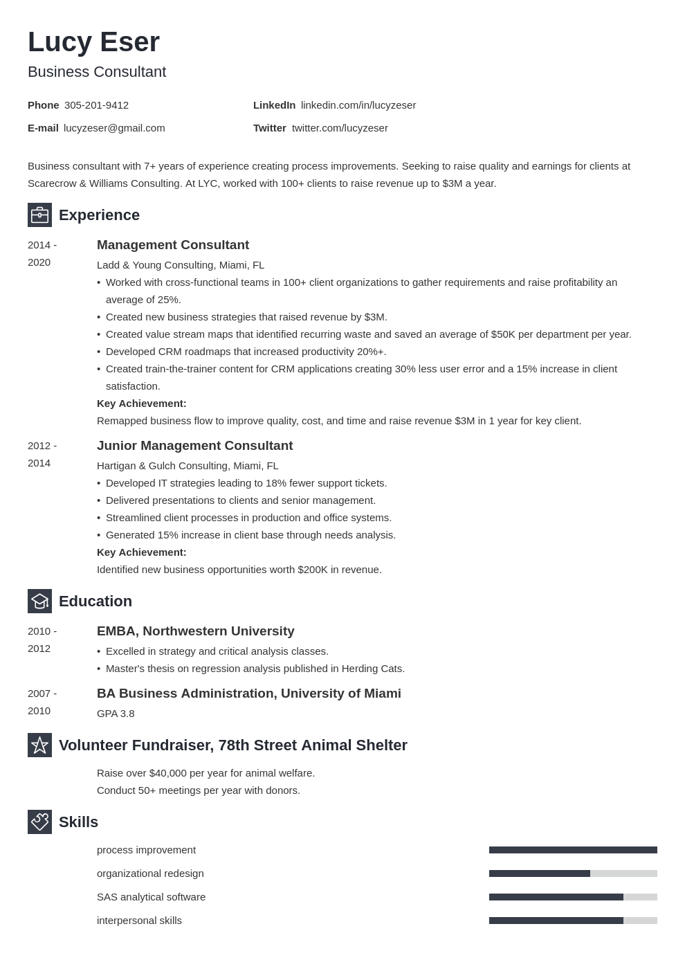 consultant template newcast