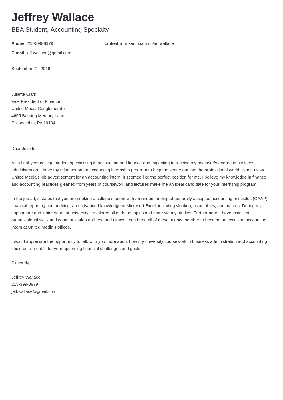 cover letter examples accounting template minimo