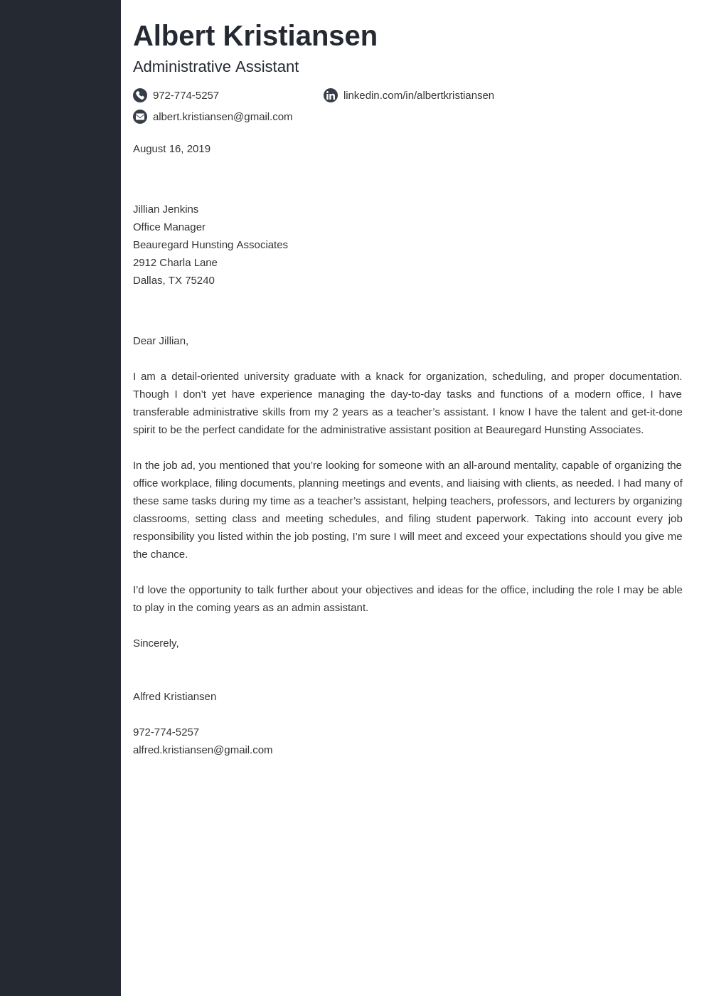 cover letter examples administrative assistant template concept