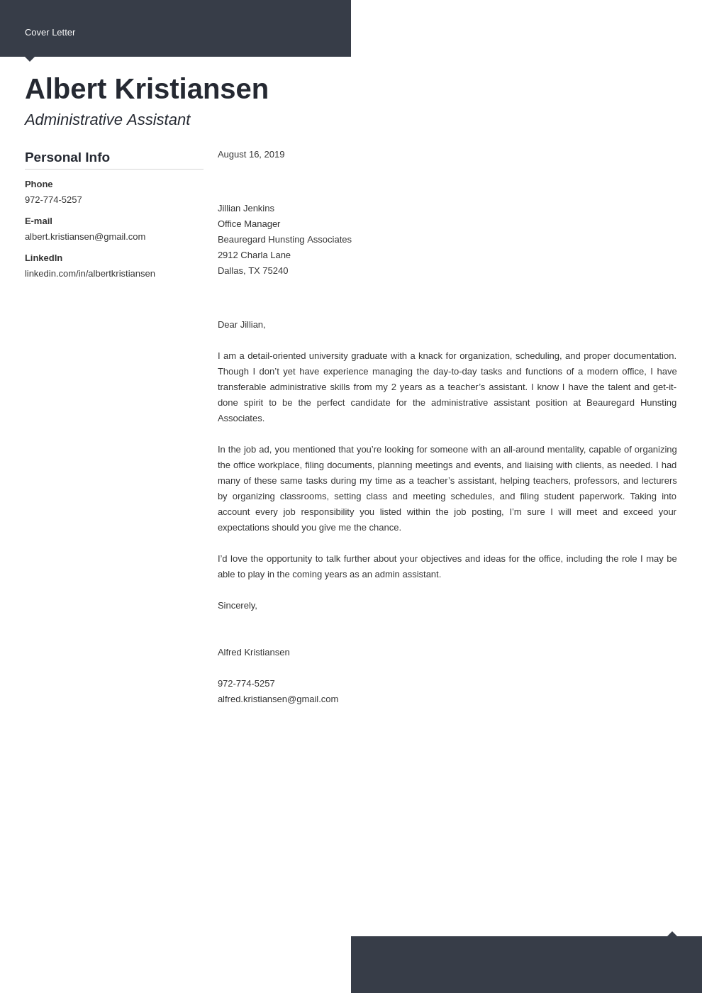 cover letter examples administrative assistant template modern