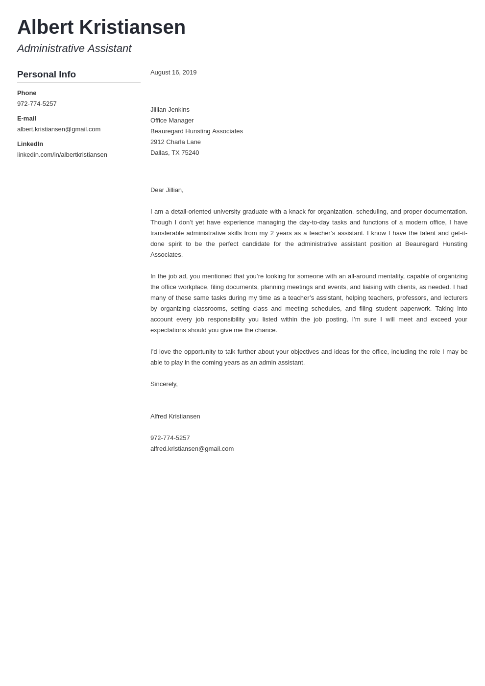 cover letter examples administrative assistant template muse
