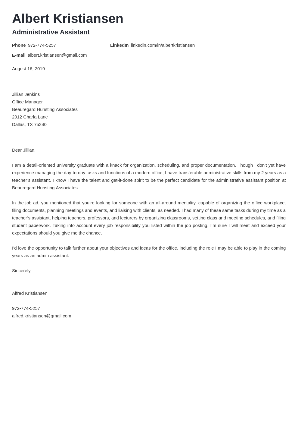 cover letter examples administrative assistant template valera