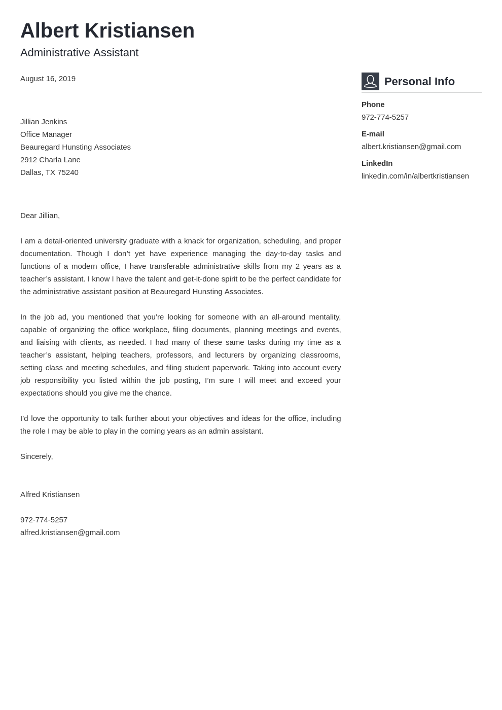 cover letter examples administrative assistant template vibes