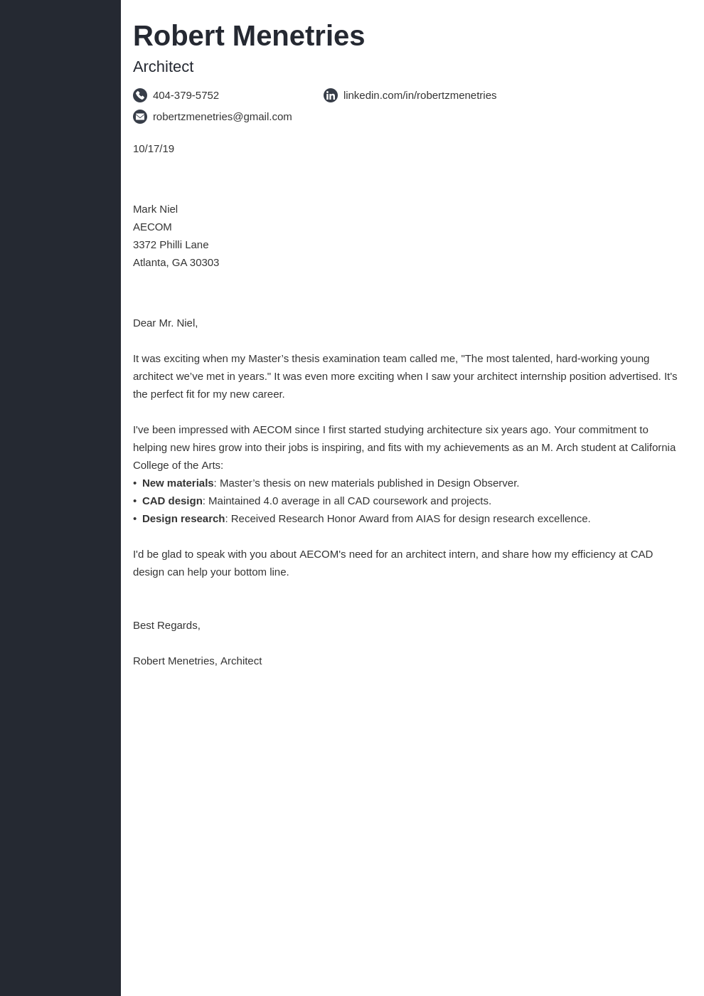 cover letter examples architecture template concept uk