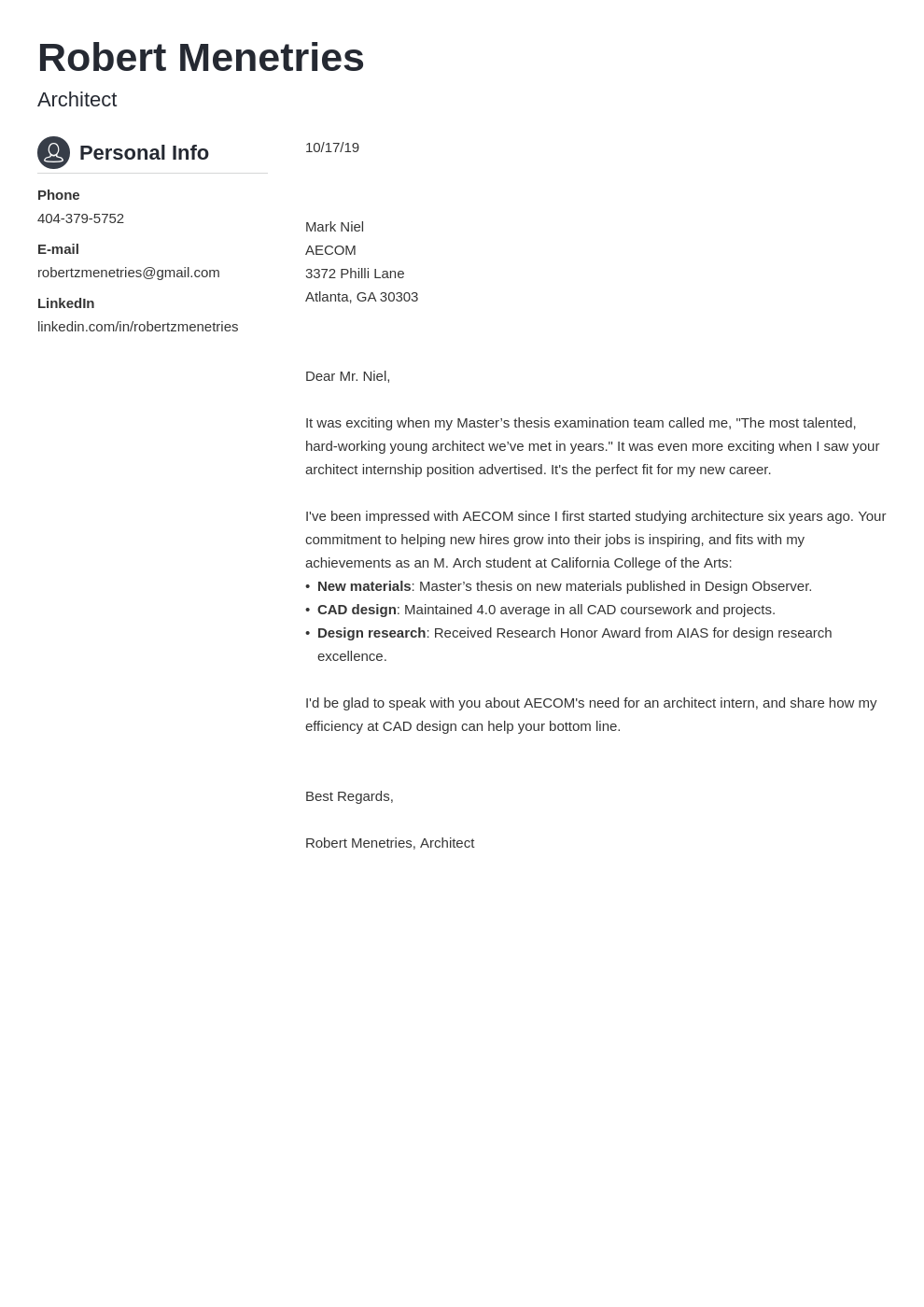 cover letter examples architecture template crisp