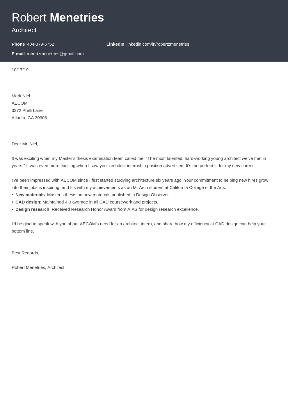 cover letter examples architecture template influx uk