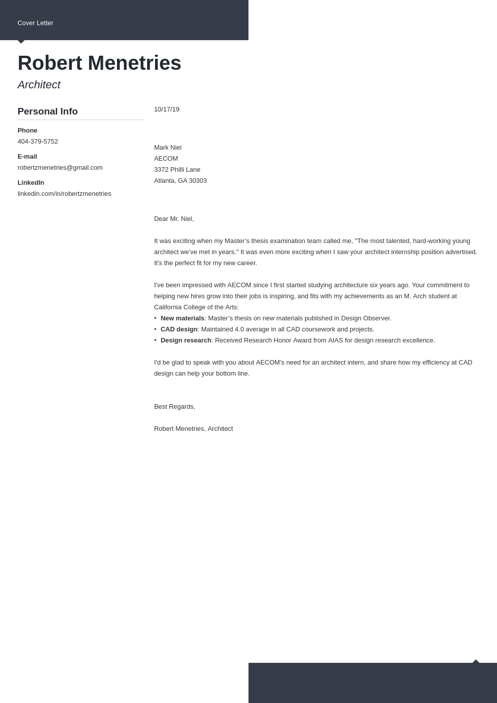 cover letter examples architecture template modern