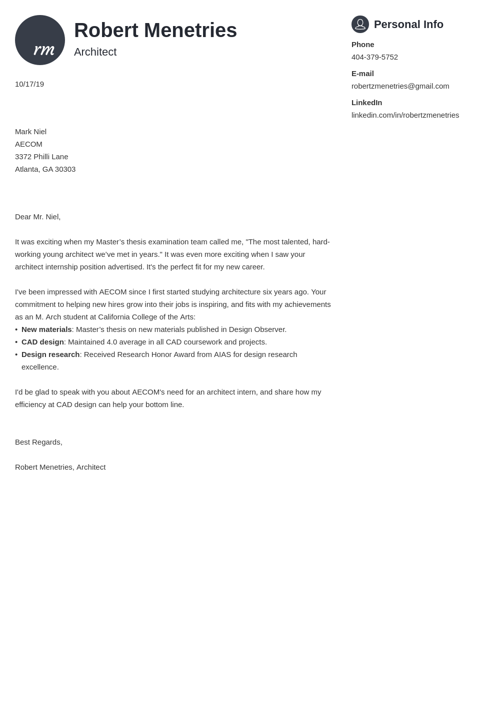cover letter examples architecture template primo
