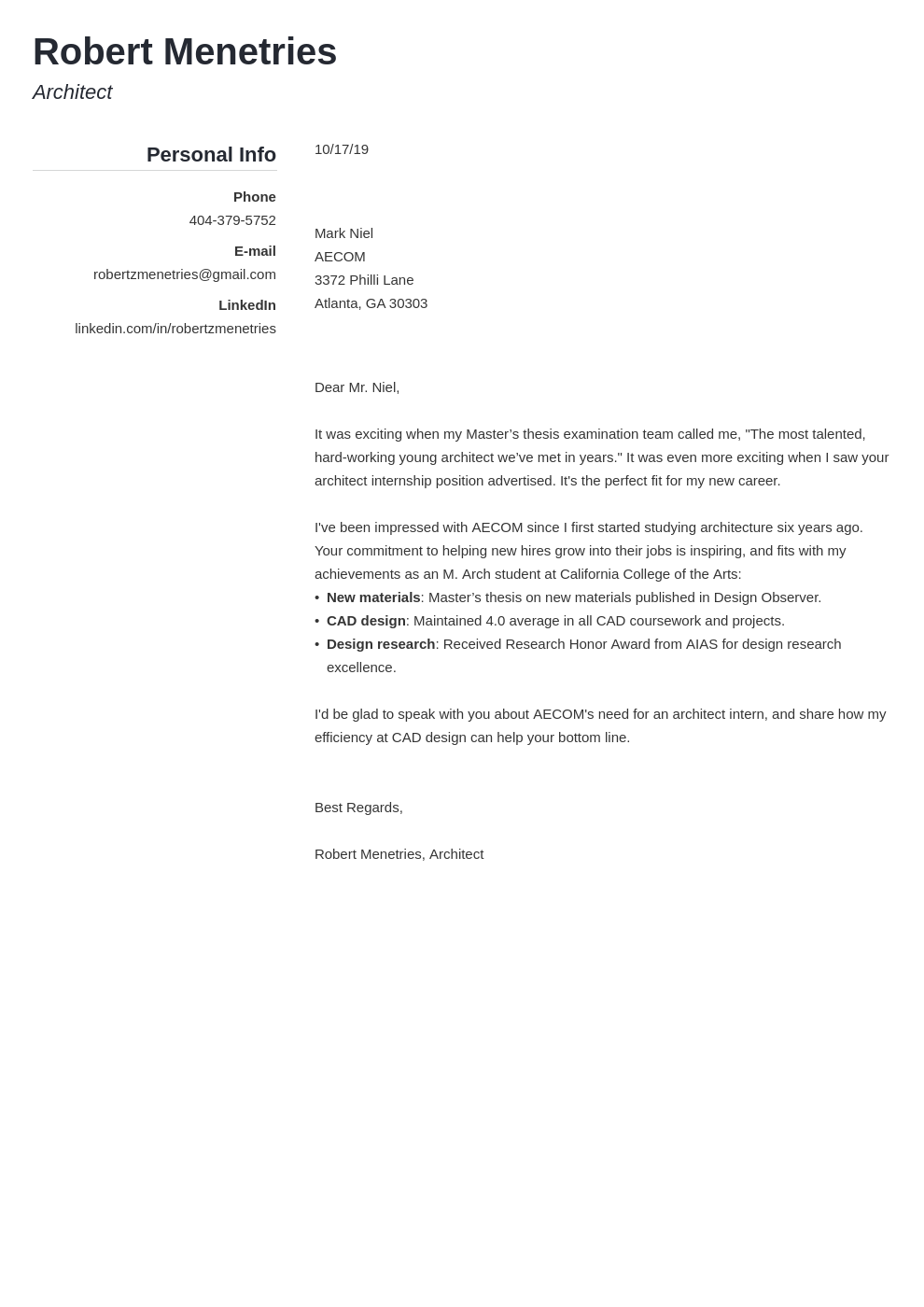 cover letter examples architecture template simple