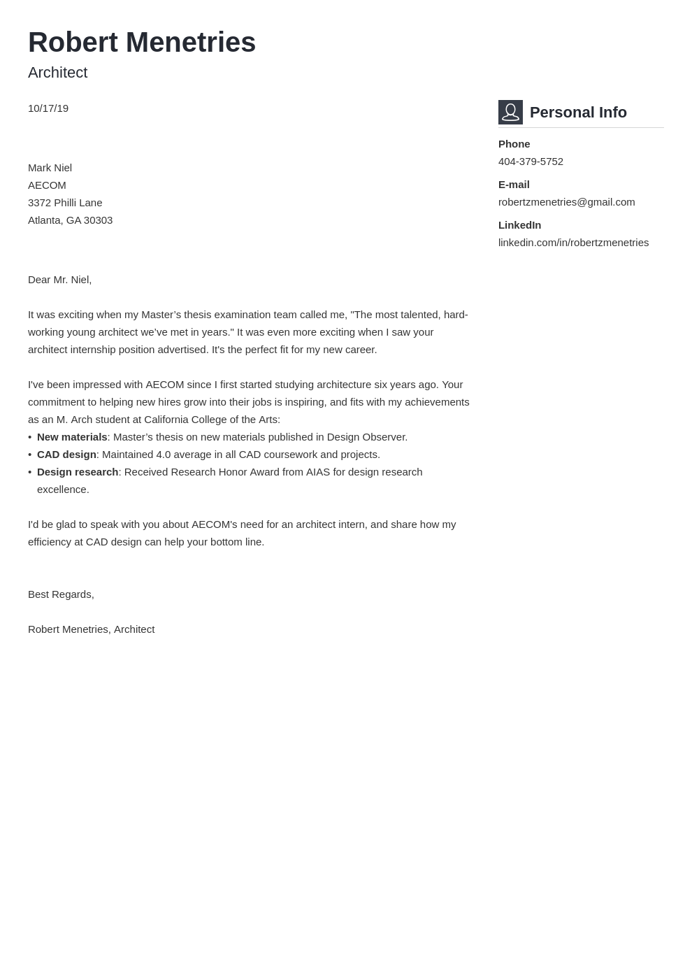 cover letter examples architecture template vibes uk