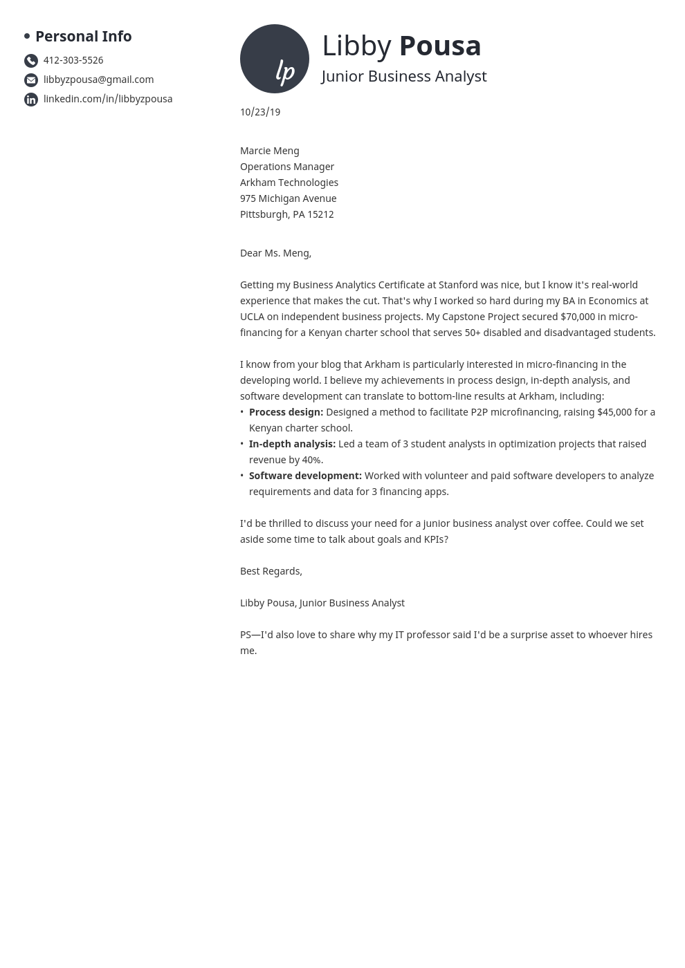 cover letter examples business analyst template initials