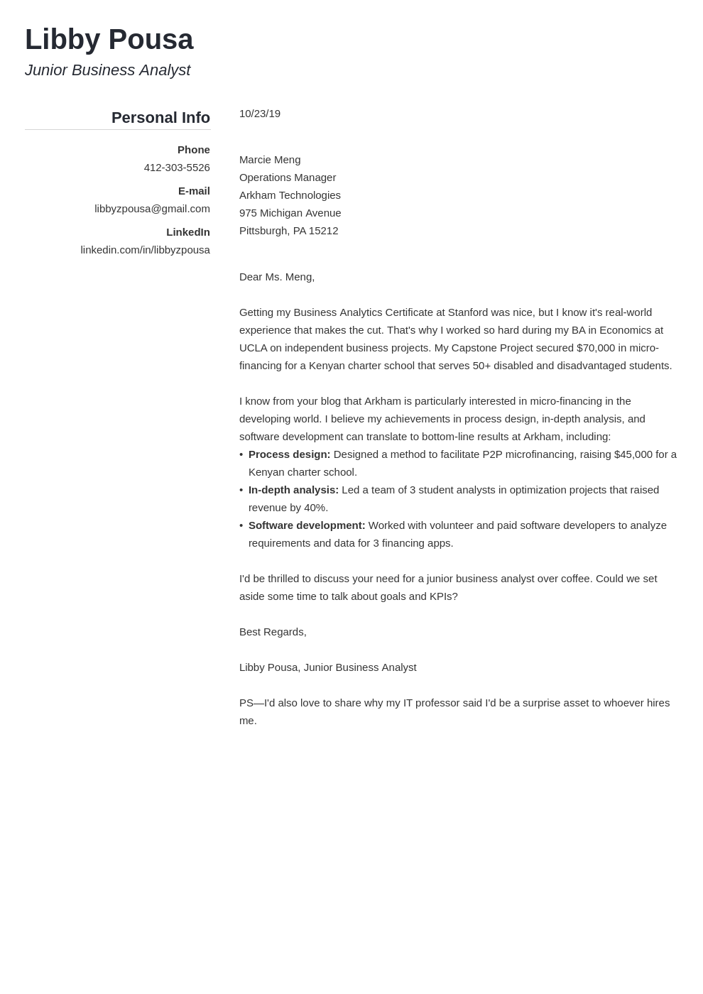cover letter examples business analyst template simple