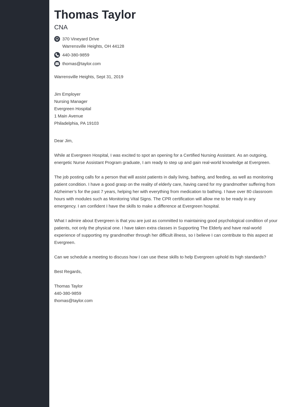 cover letter examples cna template concept