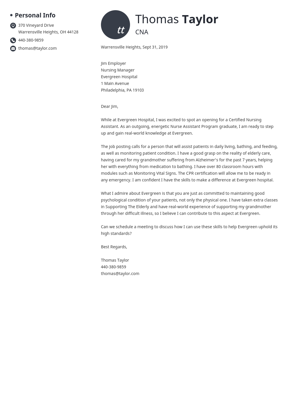 cover letter examples cna template initials
